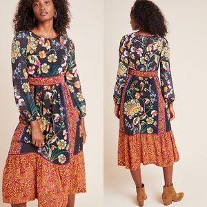 NWOT Anthropologie Adair Velvet-Trimmed Midi Dress
